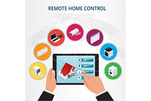 Isometric remote home control, smart home concept. Holding a smart energy controller online home automation system on a digital tablet. Vector illustration