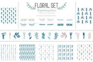 Set of 18 floral seamless patterns