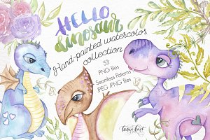 Hello Dinosaur Design Watercolor Kit