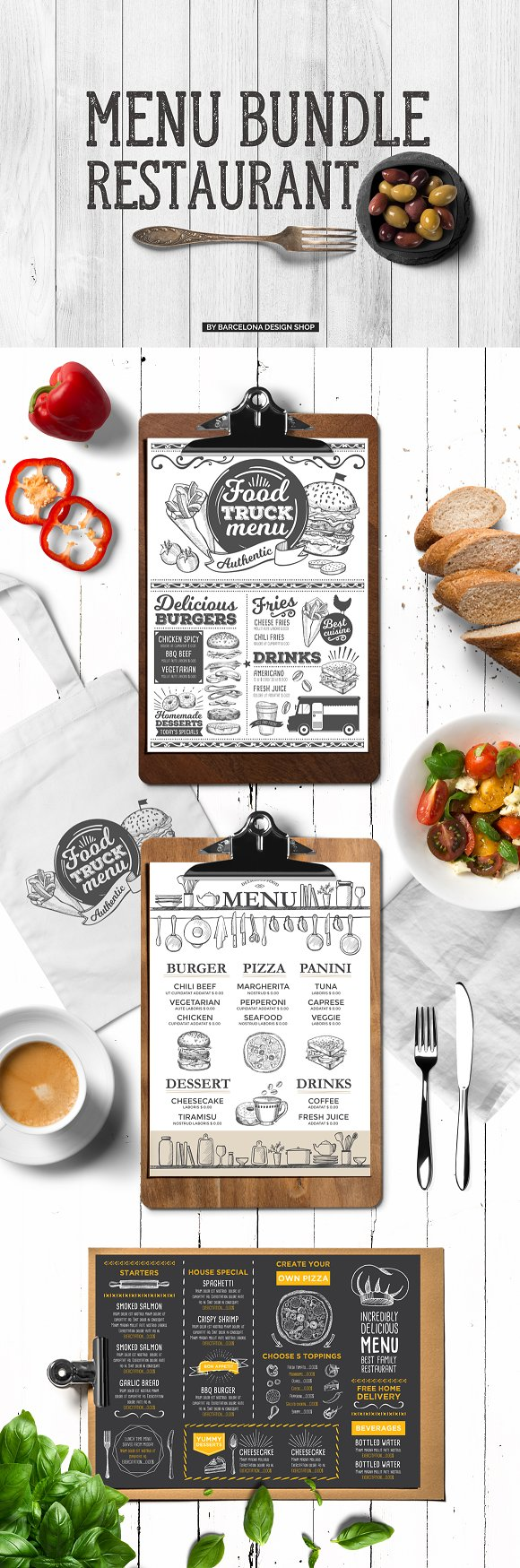 Food Menu Templates Bundle-Graphicriver中文最全的素材分享平台