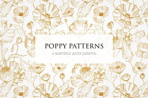 Seamless pattern with wild poppies