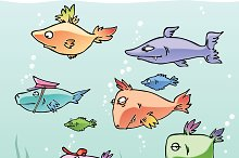 Set of the Cartoon Fishes no.2