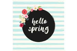 Cute rustic hand drawn Easter wreath of spring flowers with hand written text Hello Spring