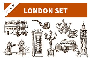 England London Sketch Vector Set