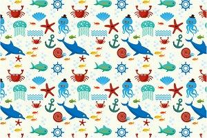 Underwater and sea animals pattern