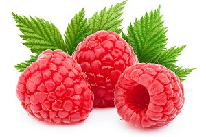 Three ripe raspberries isolated