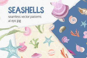 Seamless pattern of seashells,corals