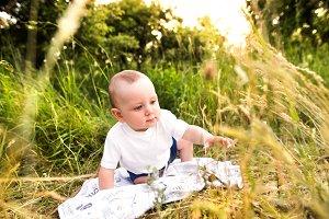 Cute little baby boy outside in in green summer nature.