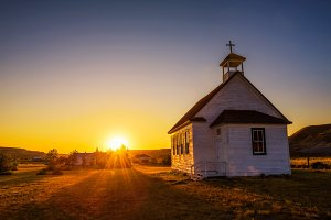 Sunset over the old church in the ghost town of Dorothy
