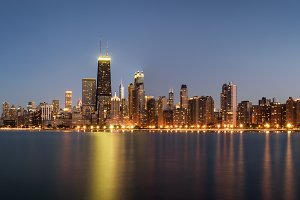 Chicago skyline panorama at night viewed from North Avenue Beach