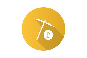 Navvy pick with bitcoin sign flat design long shadow glyph icon