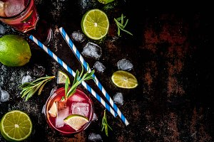 Cranberry and lime cocktail