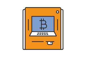 ATM machine with bitcoin sign color icon