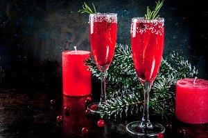 Christmas cranberry mimosa