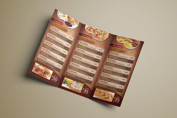 tri fold food menu template brochure templates creative market