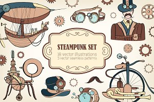Seamless pattern, set with steampunk