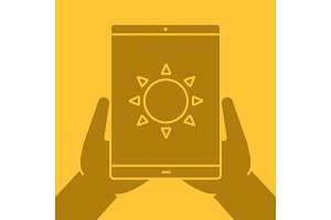 Hands holding tablet computer glyph color icon