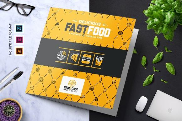 Fast Food Tri Fold Brochure Template Templates Creative Market