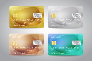 Credit Cards Set Vector Golden Card