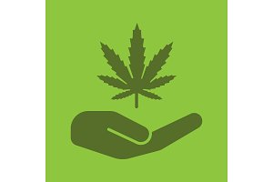 Open hand with marijuana leaf glyph color icon