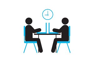 Two people working with laptops silhouette icon