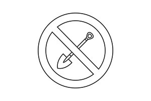 Forbidden sign with shovel linear icon