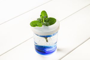 A sprout of mint in a glass of water took root on a white wooden table. Hydroponics.