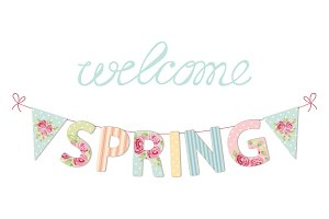 Cute vintage banner Welcome Spring as shabby chic letters and bunting flags