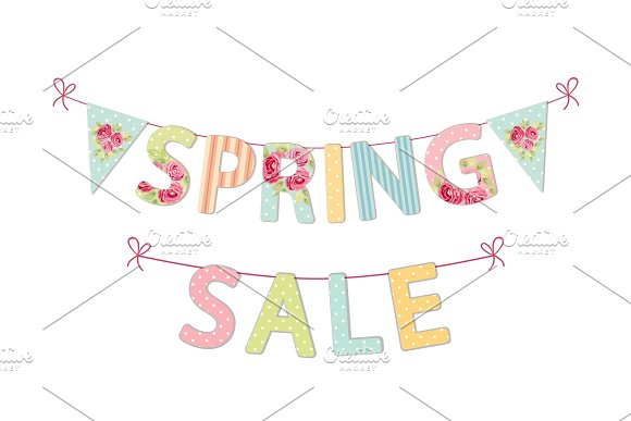 Cute Vintage Banner Spring Sale As Shabby Chic Letters And Bunting Flags
