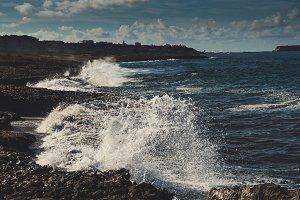 Sea splashing on rocks