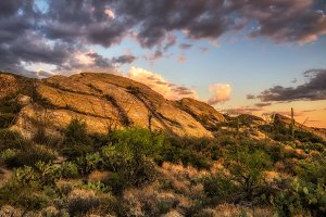 Sunset over Javelina Rocks in Saguaro National Park, Arizona