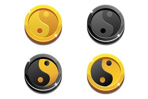 Cartoon golden coins Yin Yang on white background