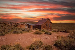 Sunset over Bodie ghost town in California