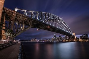 Night skyline of Sydney downtown with Harbour Bridge, Australia