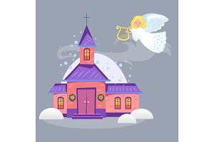 merry christmas and happy new year card, church and green tree under snow, christianity and Catholic winter city cathedral vector illustration, religious holy background