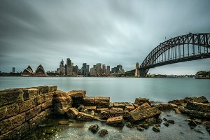 Skyline of Sydney downtown with Harbour Bridge, Australia