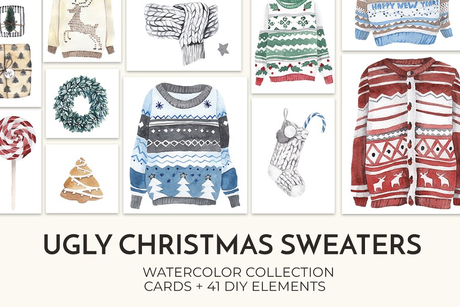 e4f340287f6d 25% UGLY CHRISTMAS SWEATERS set ~ Illustrations ~ Creative Market