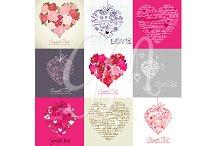 Card Set of 9 Heart Designs,clip art