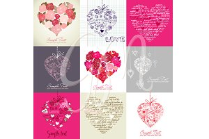 Card Set of 9 Heart Designs,clip art
