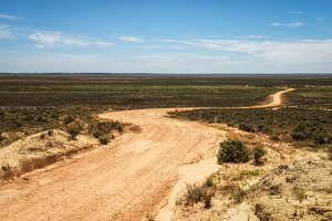 Gravel road through the Mungo National Park, Australia