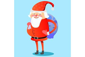 Santa Claus with hefty bag of gifts on his back congratulates everyone with Christmas and happy new year vector illustration