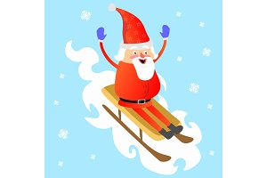 santa claus in red hat and jacket, with beard rolling down from mountain on white snow sleigh, marry of christmas and happy new year vector illustration