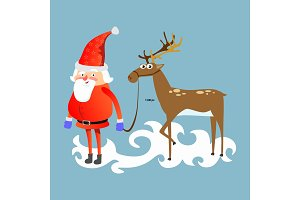 santa claus in red hat and jacket, with beard holding halper reindeer, marry of christmas and happy new year vector illustration on blue background card