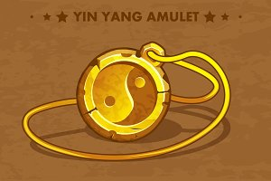 Cartoon golden circle old amulet Yin Yang