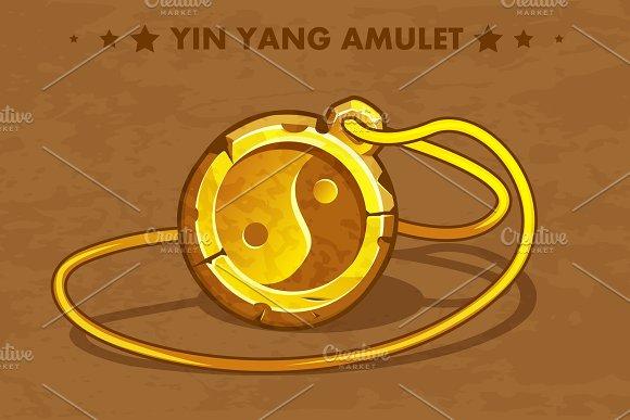 Cartoon Golden Circle Old Amulet Yin Yang