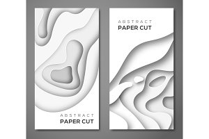 Vertical banners with white paper cut shapes