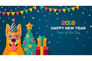 New year carnival night with dog in carnival mask