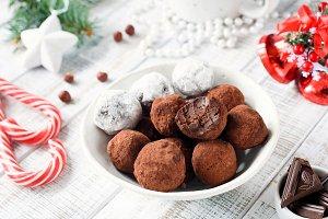 Homemade chocolate candy truffles