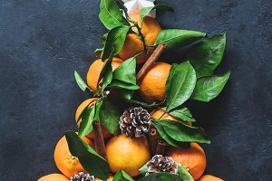 Christmas tree with tangerines