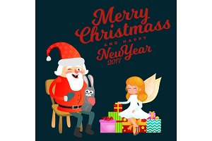 santa claus in red hat with beard sits on chair with hare in hand which makes wish, magic fairy with golden wings helps and prepares gifts, marry of christmas and happy new year vector illustration